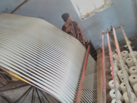 Winding Warp for Artisan Made Black Ikat Triangle Fabric Rustic Loom
