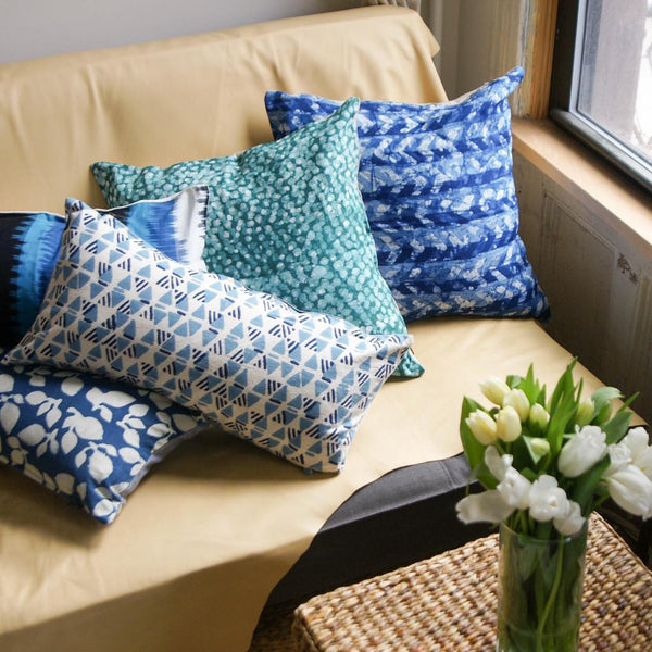 Indigo Blue Geometric Triangle Print Lumbar Pillow