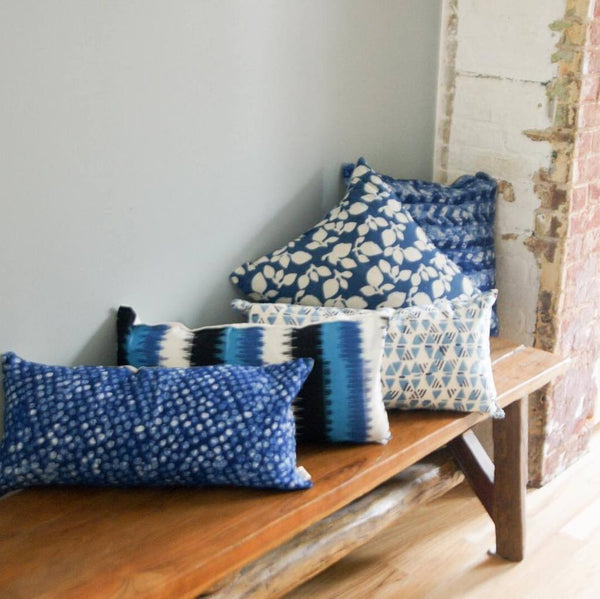 Artisan Made Indigo Blue Dot Linen Batik Lumbar Toss PillowI