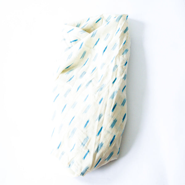 White Blue Dash Artisan Woven Cotton Ikat Baby Swaddle Wrap