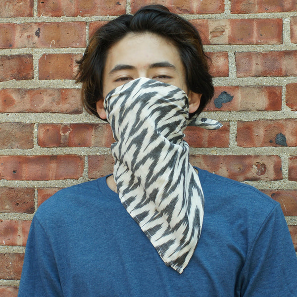 Grey White Zig Zag Cotton Ikat Bandana