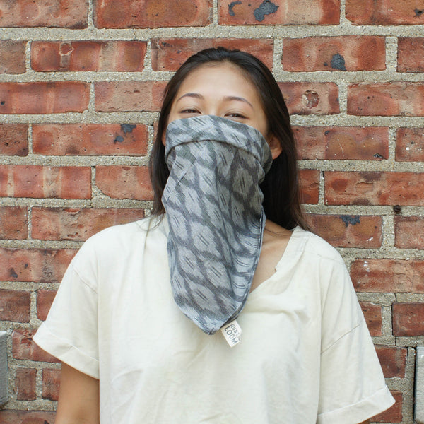 Grey Ogee Hand Dyed Ikat Bandana Sustainable Fashion