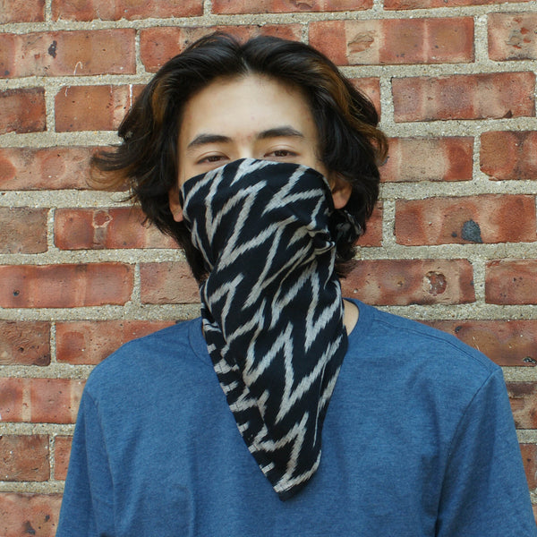 Black Grey Zig Zag Ikat Cotton Bandana Sustainable Fashion