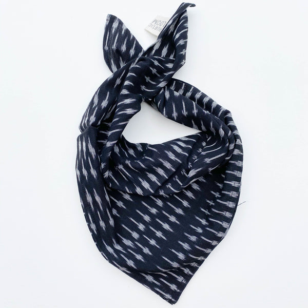 Black Grey Dash Handwoven Ikat Bandana