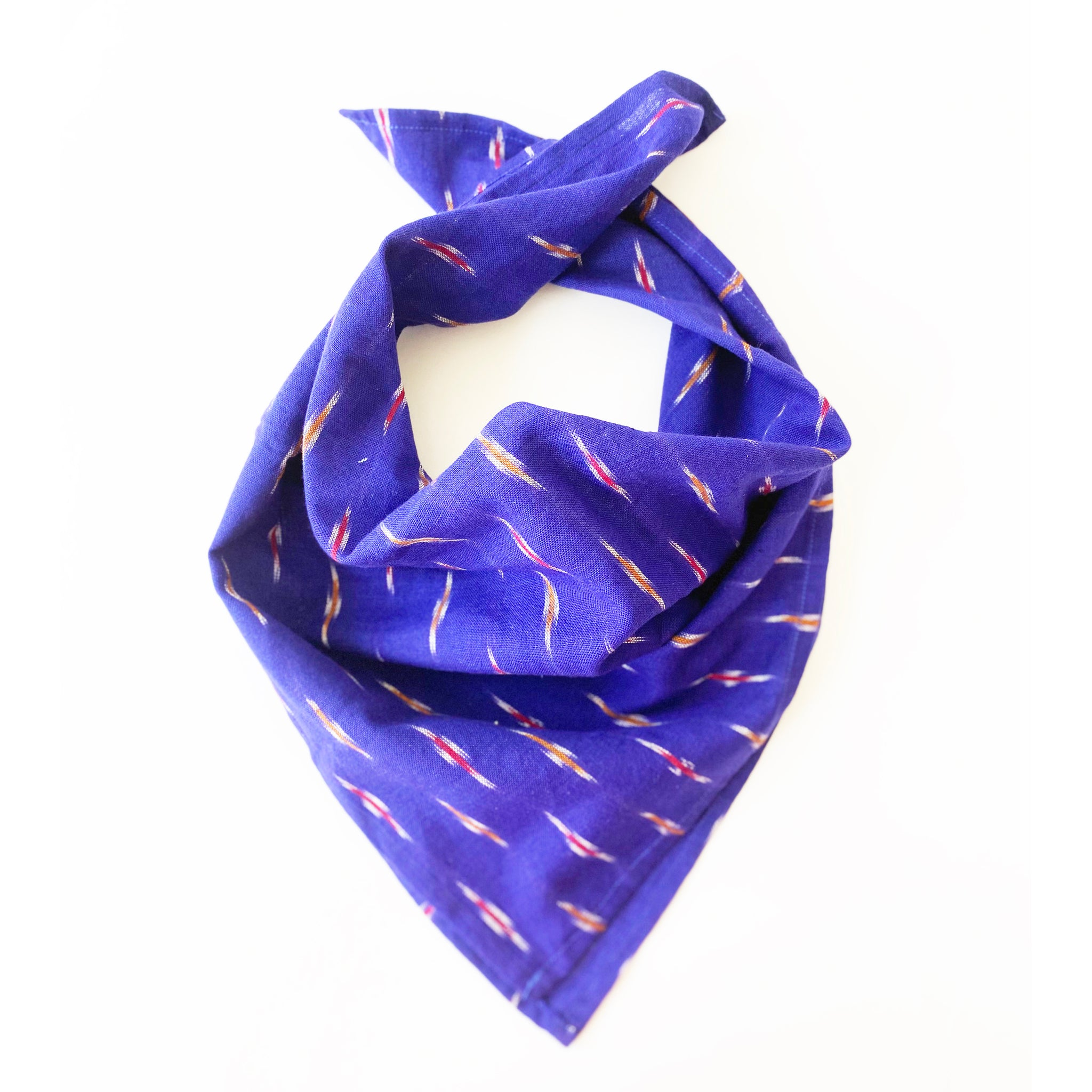 Marine Blue Dash Cotton Ikat Bandana