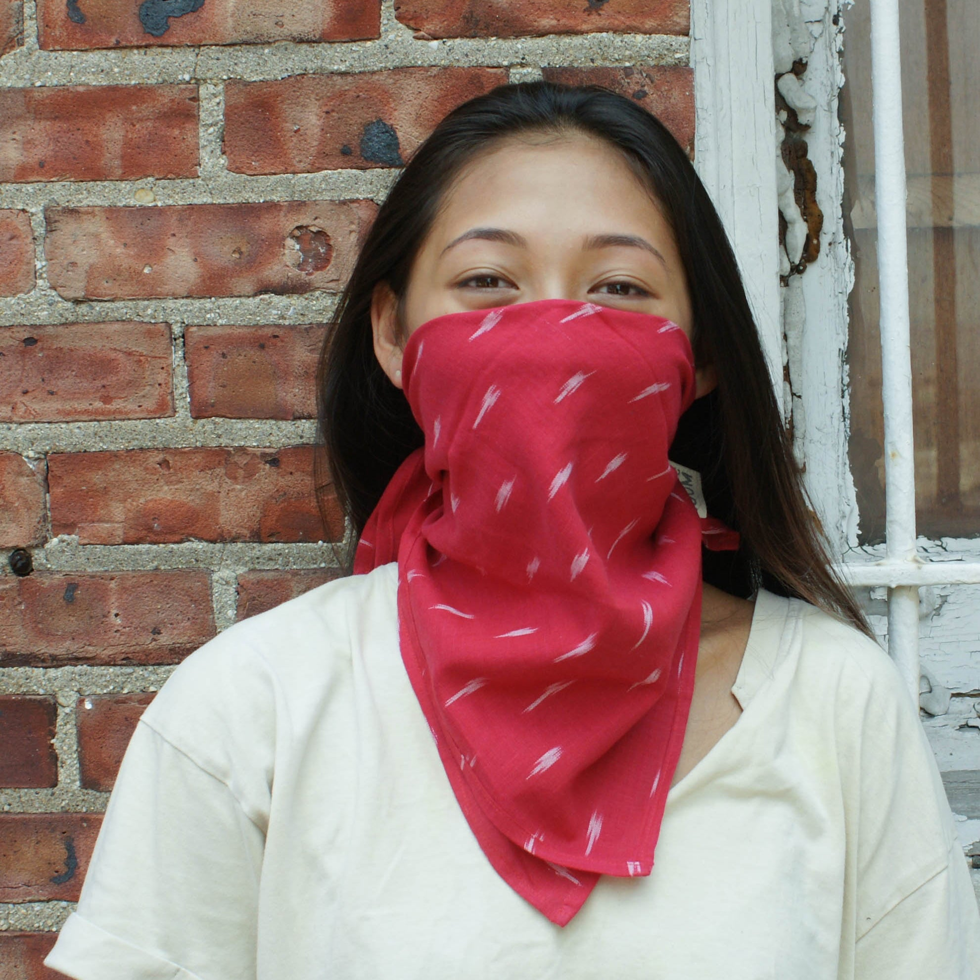 Red Aqua Dash Cotton Ikat Bandana