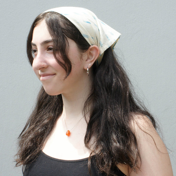 White Dotty Dash Ikat Cotton Ikat Bandana