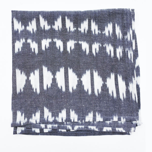 Grey Ikat Triangle Hand Dyed Woven Bandana