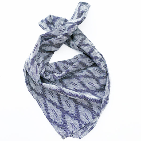 Grey Ogee Hand Dyed Ikat Bandana Ethically Sourced