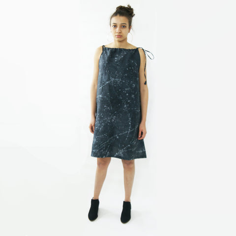 Black Linen Summer Swing Dress Artisan Made Batik Splatter