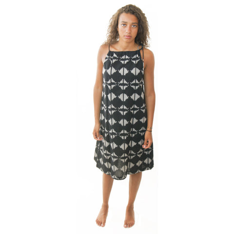 Black Geometric Cotton Swing Dress Artisan Made Ikat