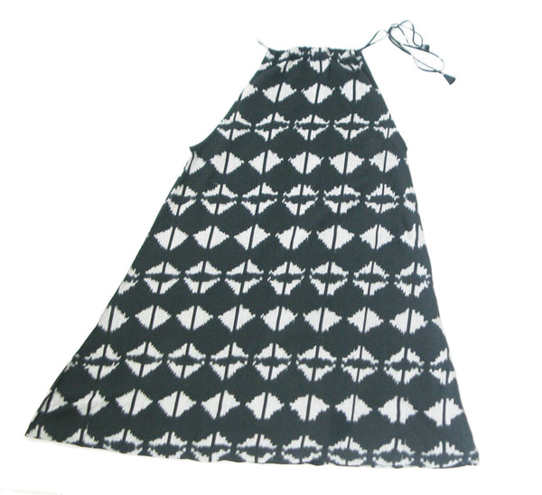 Black Triangle Cotton Swing Dress Artisan Made Ikat