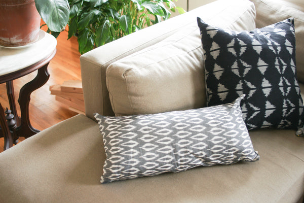 Black Triangle Ikat Cotton Throw Pillow 22 x 22 Square Ethically Made