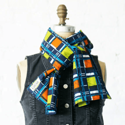 Denim Blue Plaid Cotton Scarf