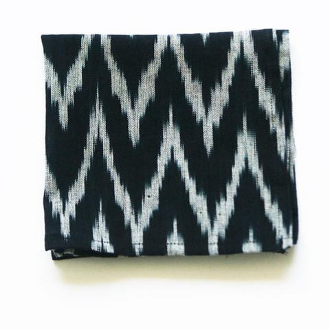 Black Zig Zag Handwoven Ikat Cotton Cocktail Napkin Set