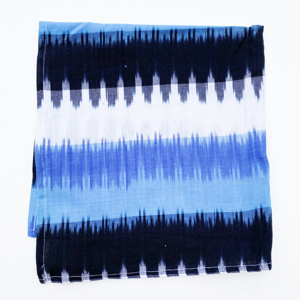 Ikat Blue Wide Stripe Ikat Cotton Bandana