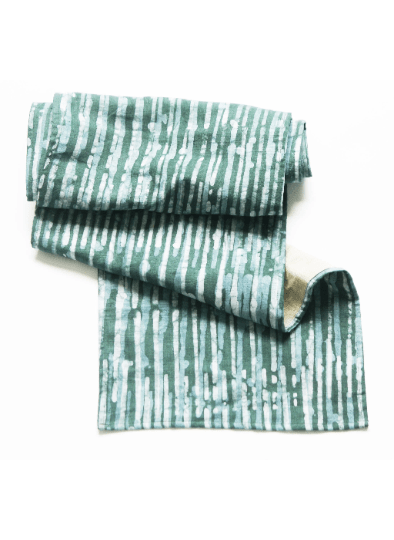 Linen Table Runner Teal Stripe Hand Batik Block Printed