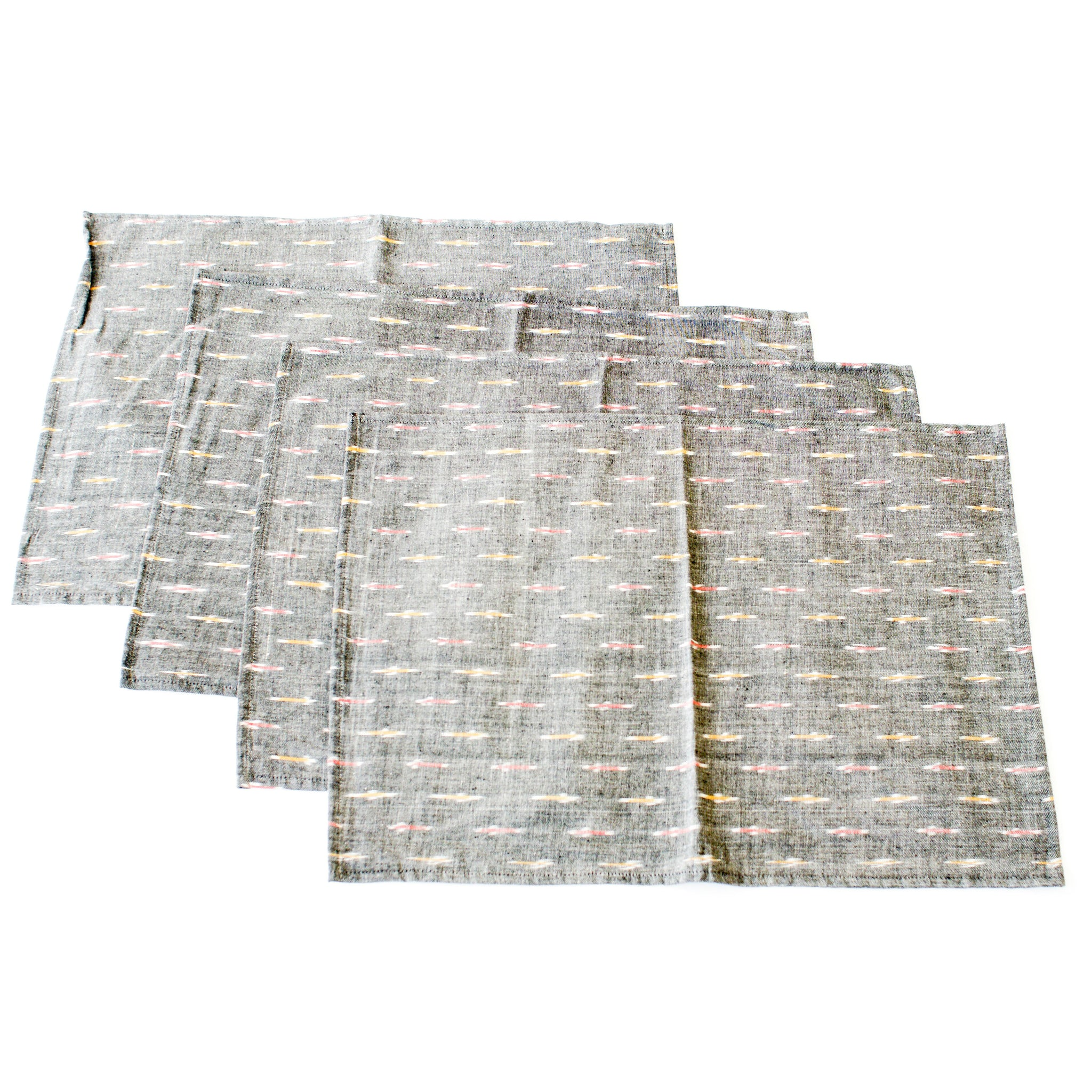 Ikat Cotton Cloth Placemat Grey Red Gold Dash Set of 4