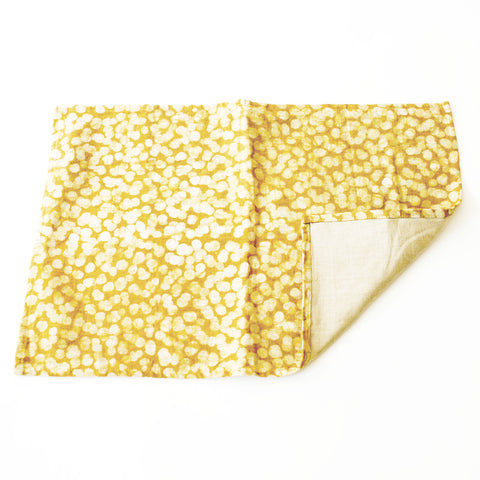 Linen Placemat Maize Gold Dot Hand Batik Block Printed Set of 4