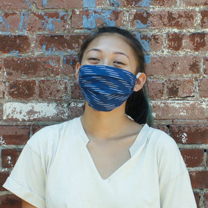 Ikat Blue Diagonal Stripe Hand Dyed Face Mask
