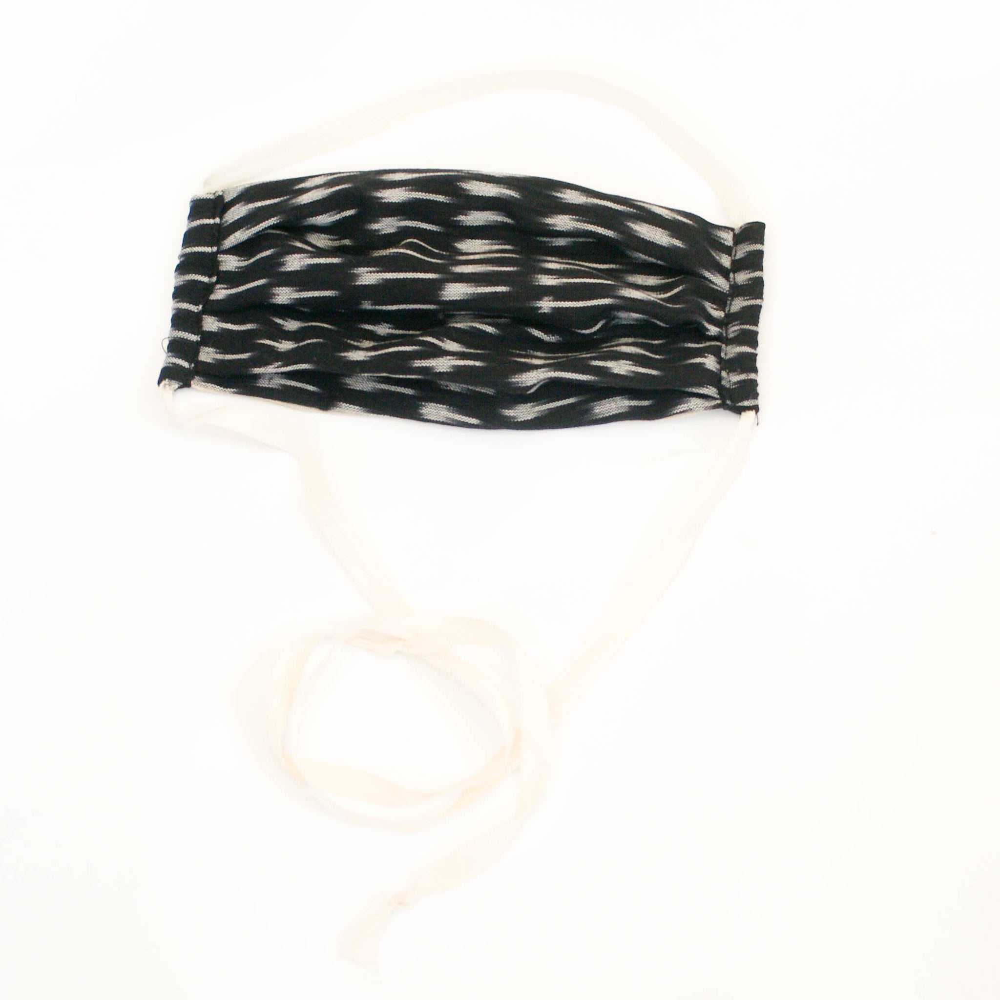 Black Ikat Dash Sustainable Reusable  Woven Face Mask