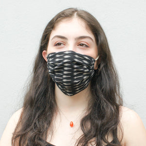 Black Ikat Dash Hand Dyed + Woven Face Mask