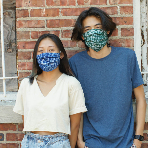 Indigo Blue Dot Hand Dyed  Batik Linen Face Mask