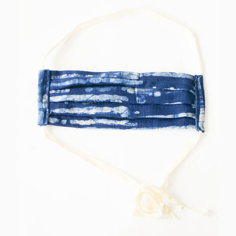 Indigo Blue Thin Stripe Hand Dyed  Batik Linen Face Mask