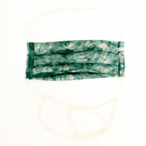 Green Linen Chevron Hand Dyed Batik Face Mask