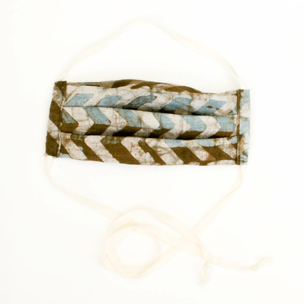 Brown + Blue Linen Chevron Hand Dyed Batik Face Mask
