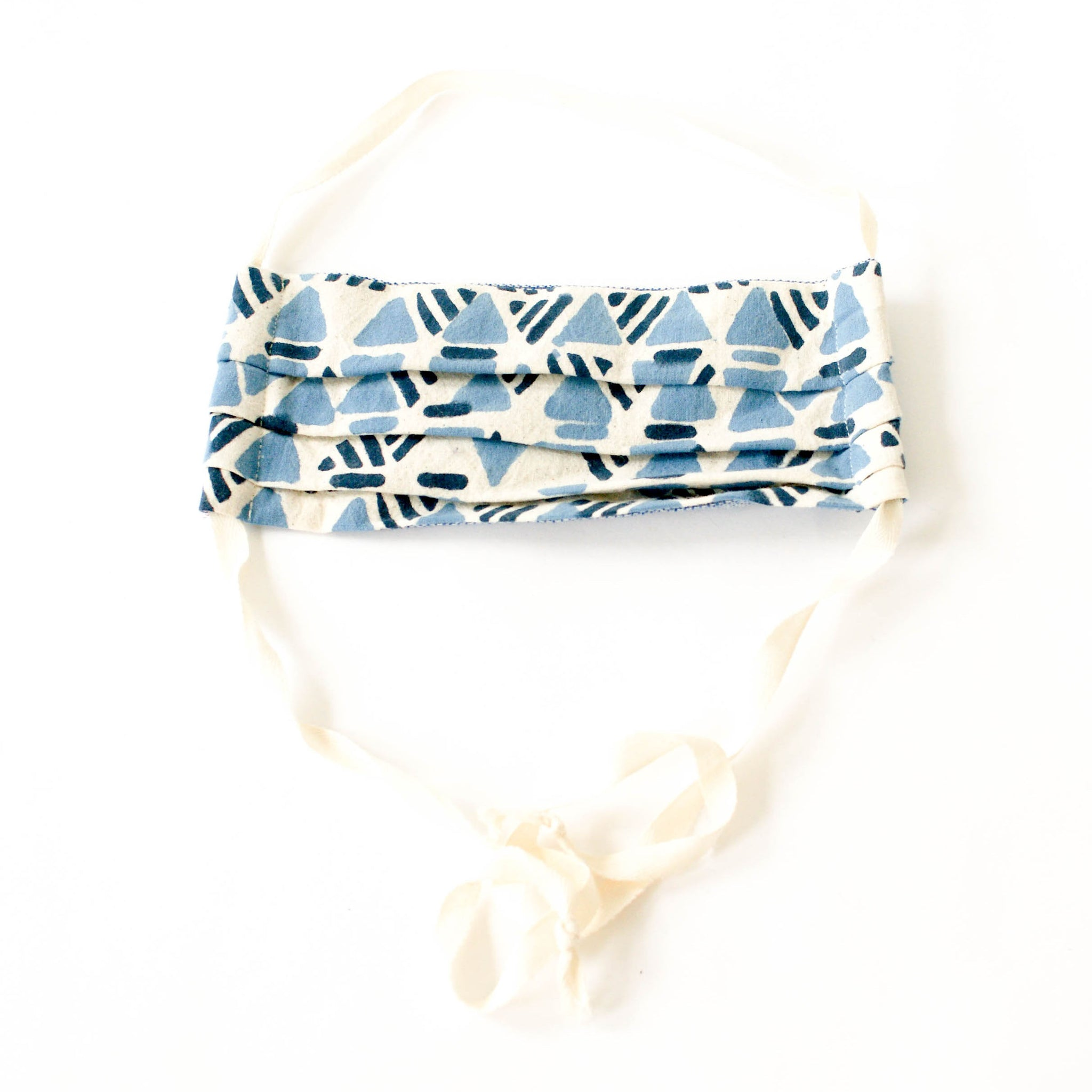 Blue Triangle Block Printed Cotton Face Mask