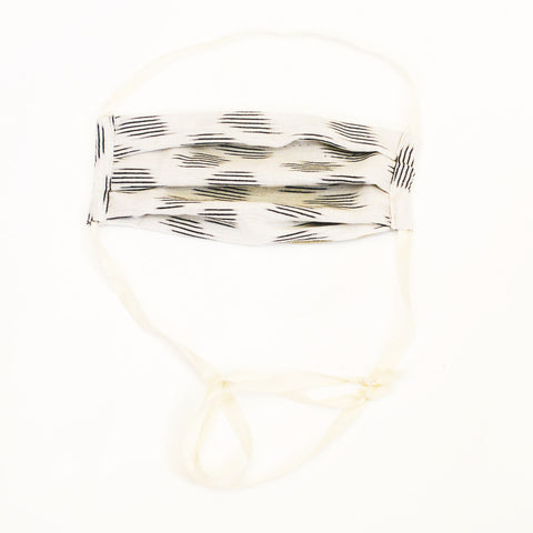 White Modern Dot Ikat Cotton Face Mask