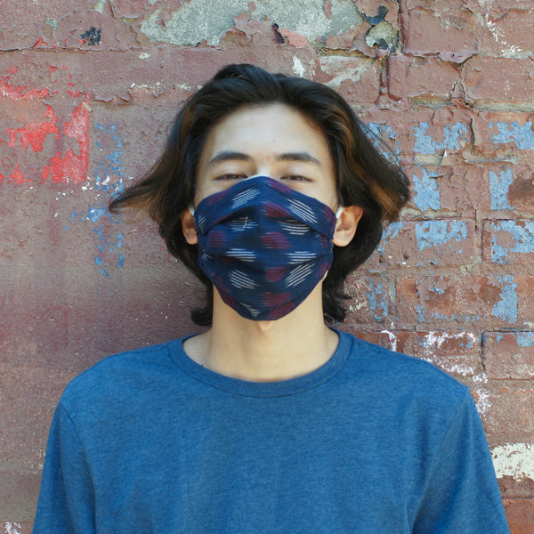 Navy Blue Modern Dot Reusable Hand Dyed + Woven Face Mask