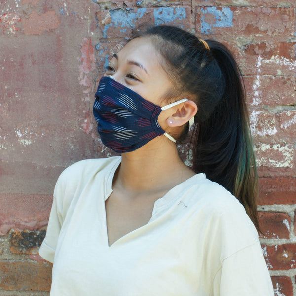 Navy Blue Modern Dot Reusable Hand Dyed + Woven Face MaskNavy Blue Modern Dot Reusable Hand Dyed + Woven Face Mask