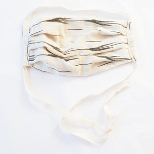 White Arrow Stripe Ikat Cotton Face Mask