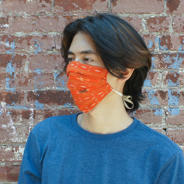 Orange Ikat Stripe Hand Dyed + Woven Face Mask