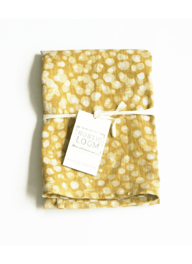 Maize Yellow Dot Tea Towel Handprinted Batik Linen Kitchen Towel