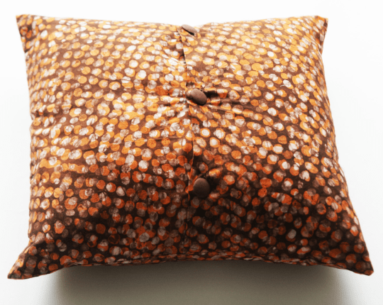 Modern Orange Dot Batik Block Print Cotton Toss Pillow