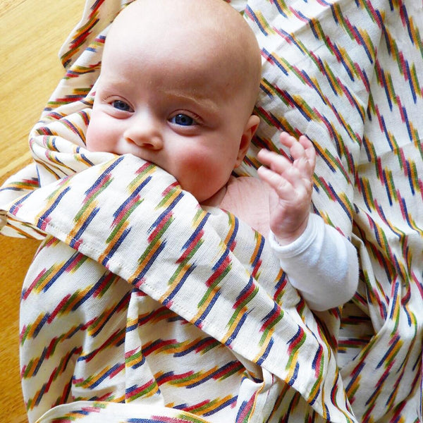 Multi Color Stripe Ikat Artisan Woven Baby Wrap Swaddle