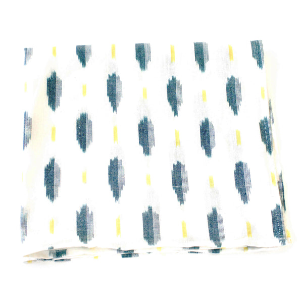 White Green + Yellow Ikat Leaf Cotton Woven Napkin Set
