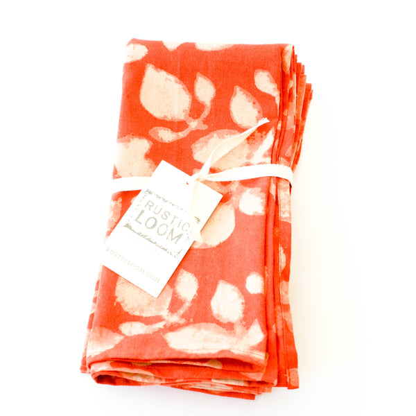Orange Leaf Pattern Cotton Block Print Dinner Napkin Set
