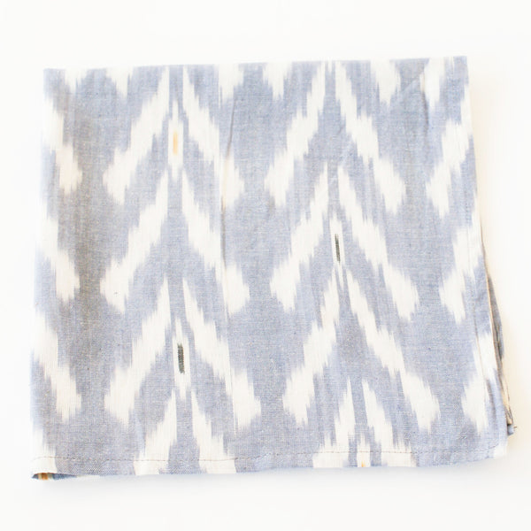 Periwinkle Tulip Cotton Ikat Woven Dinner Napkin Set