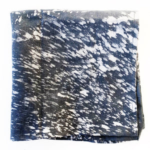 Black Grey Splatter Paint Batik Linen Cloth Napkin- Set of 4