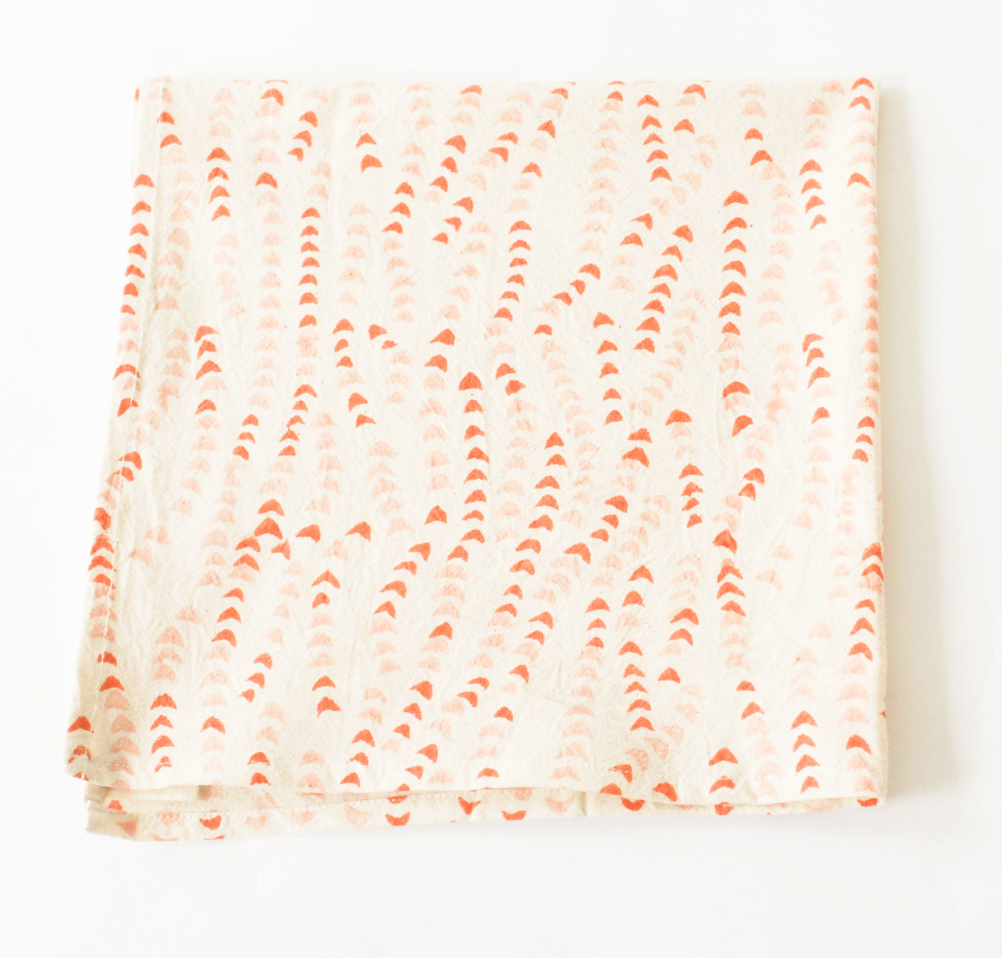 Orange, Pink, White  Leaf Vine Cotton Blockprinted Dinner Napkin Set
