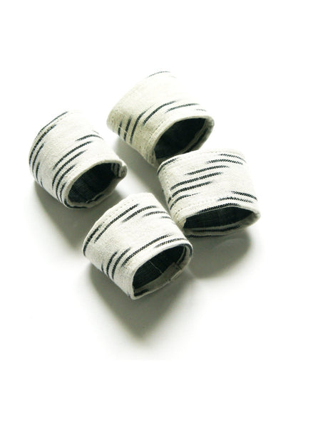 Napkin Ring Set Handwoven Cotton Cloth White Grey Ikat Diagonal Stripe Set of 4