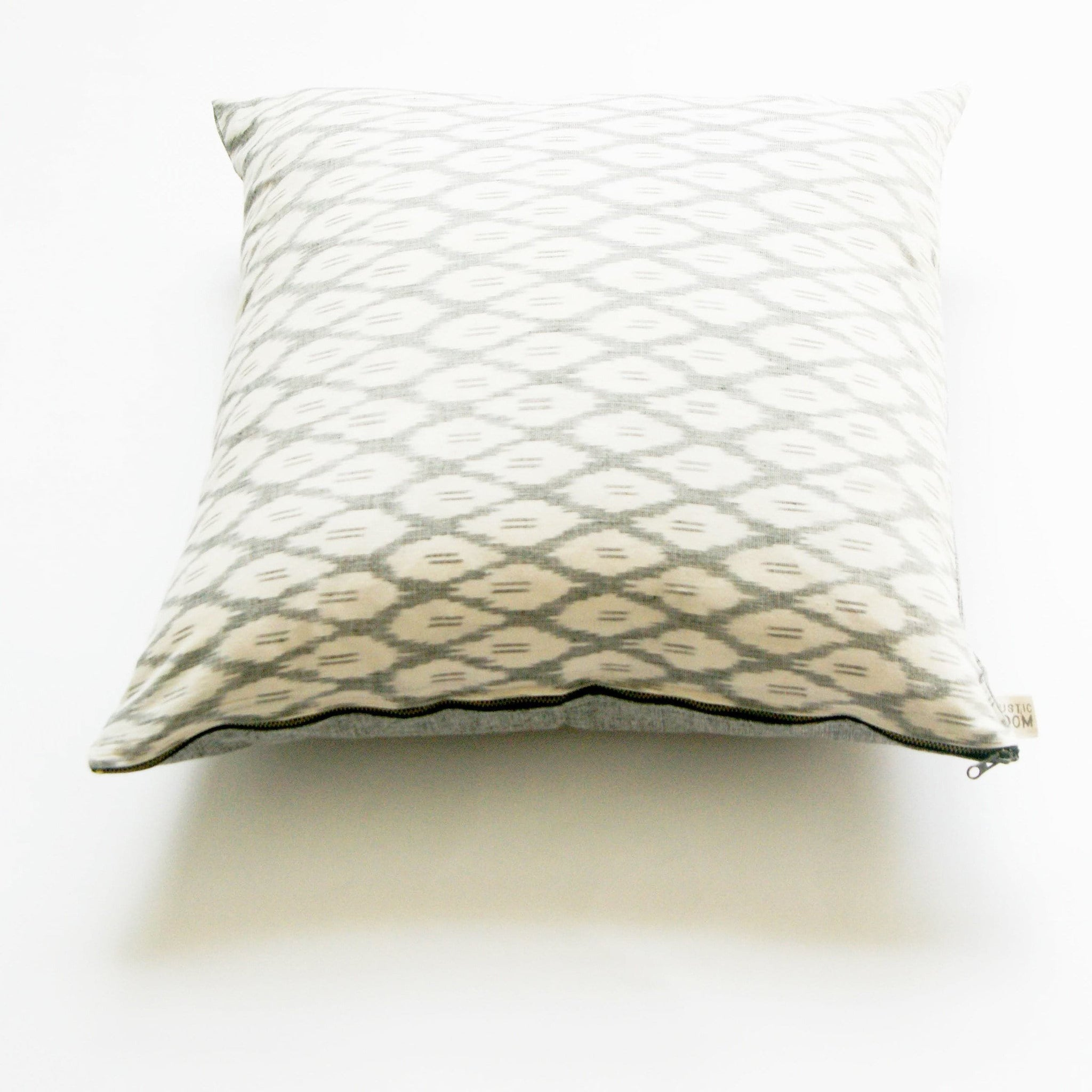 Woven Cotton Ikat Throw Pillow White Grey Ogee