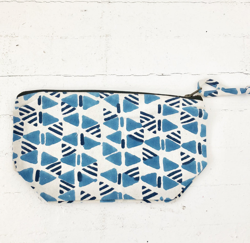 Blue Triangle Block Print Large Zipper Pouch Cosmetic Bag Jewelry Bag