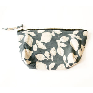 Grey Leaf Cosmetic Bag Large Zipper Pouch Media 1 of 3