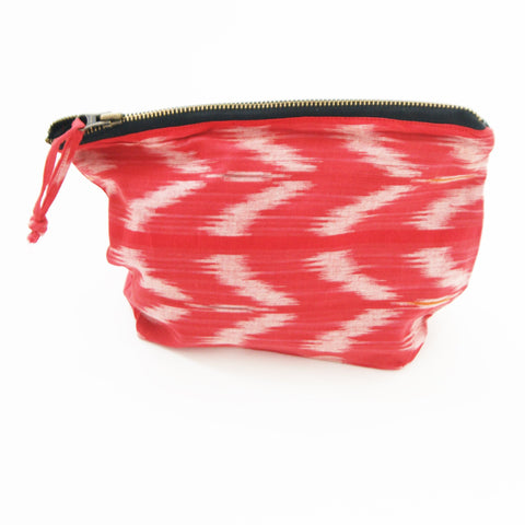 Orange Tulip Cotton Ikat Large Zipper Pouch