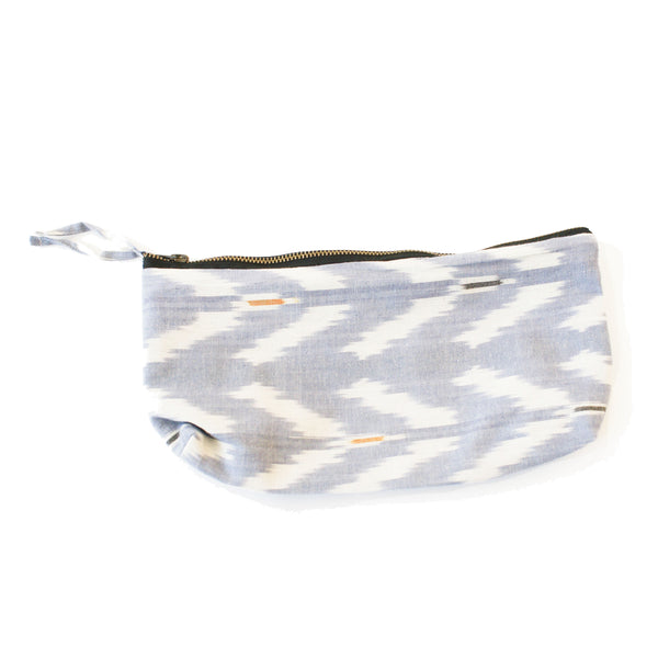 Periwinkle Blue Ikat Tulip Large Zipper Pouch Fair Trade
